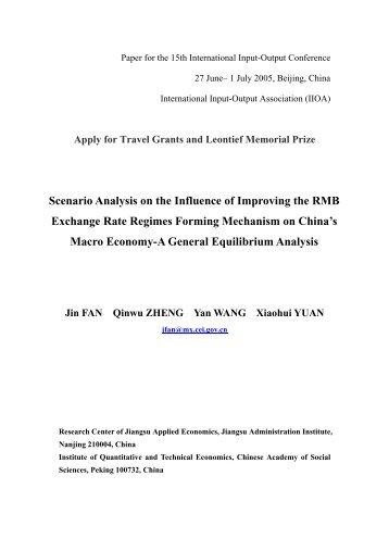 Scenario Analysis on the Influence of Improving the RMB ... - IIOA!