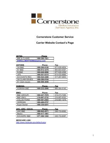 Carrier Contact Information Sheets