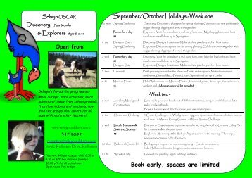 Holiday booking form - Selwyn Toddlers