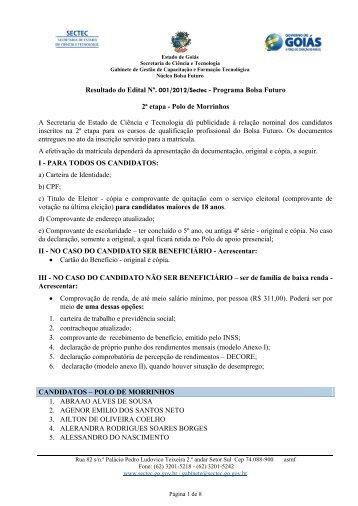 Classificados Edital 2 Morrinhos - Secretaria de Ciência e ...