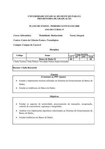 Apresentação da Disciplina (Plano de Ensino) - INF-Unioeste
