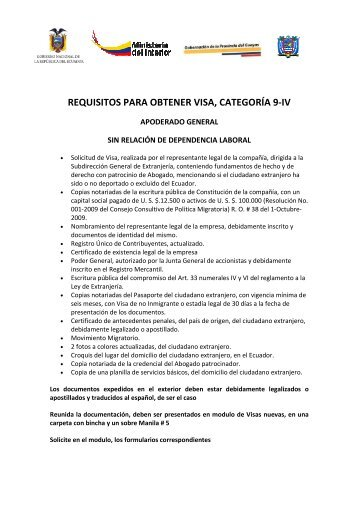 requisitos para visa 9-iv