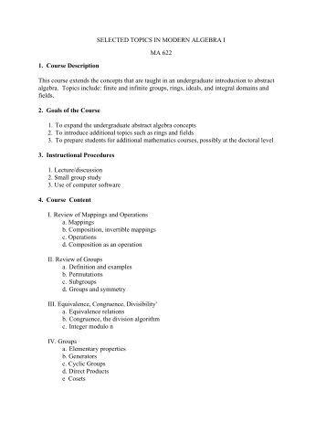 MATH 622 Selected Topics in Modern Algebra I