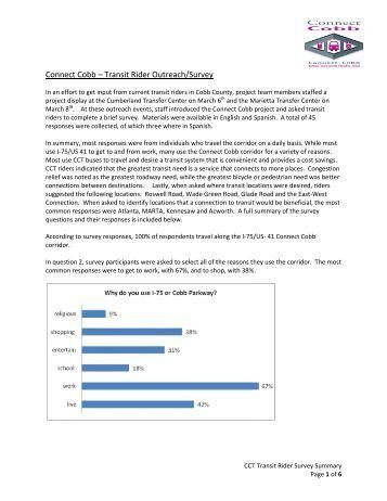 Connec t Cobb – T Transit Ride er Outreac h/Survey - DOT