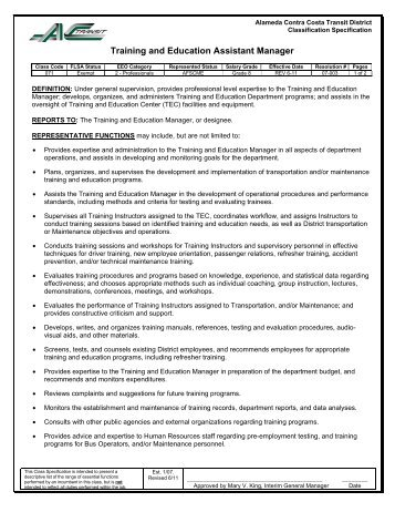 Training & Education Assistant Manager - AC Transit