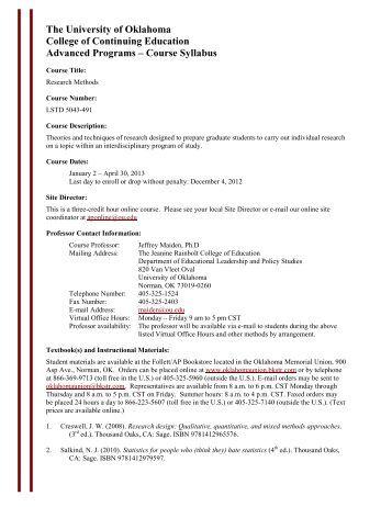 Course Syllabus - University of Oklahoma