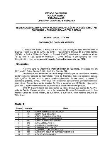 Sala 1 - Colégio da Polícia Militar do Paraná