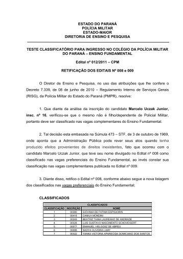ESTADO DO PARANÁ - Colégio da Polícia Militar do Paraná