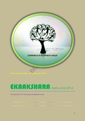 EKAAKSHARA- April-June 2014 Edition