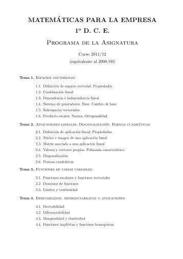 MATEM´ATICAS PARA LA EMPRESA 1 D. C. E. Programa de la ...