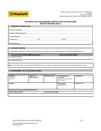 maybank account opening form pdf