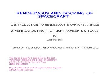 RENDEZVOUS AND DOCKING OF SPACECRAFT - ESA