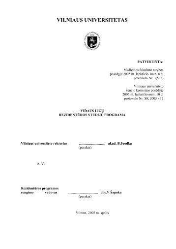 Vidaus ligos - VU Medicinos fakultetas - Vilniaus universitetas