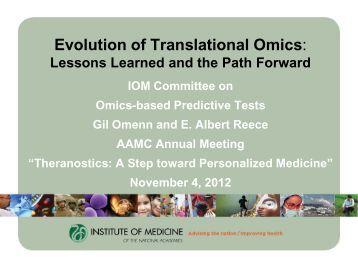 Evolution of Translational Omics: