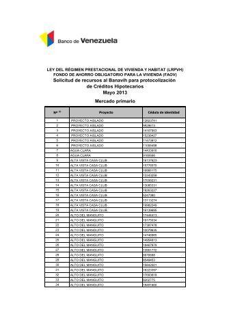 Publicación Listado Clientes FAOV MAYO 2013 - Banco de Venezuela