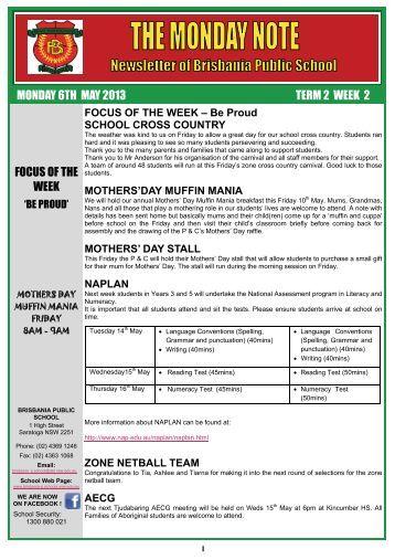 Monday Note, 6th May 2013 - Brisbania Public School