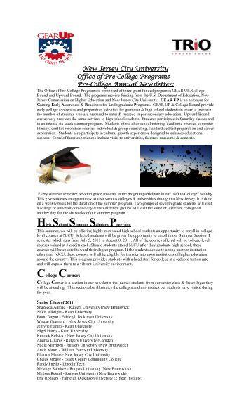 New Jersey City University Office of Pre-College Programs Pre ...
