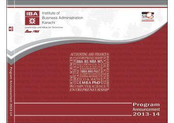 Program Announcement 2013 - 14 - Institute of Business ...