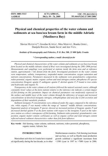 Physical and chemical properties of the water column and ...