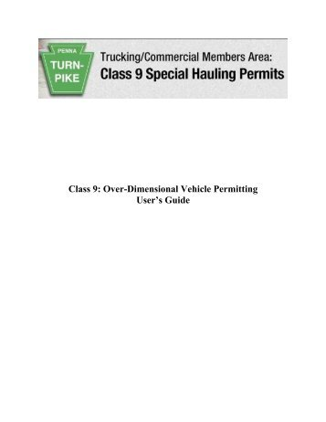 Class 9: Over-Dimensional Vehicle Permitting User's Guide - The ...