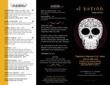menu - El Patron Taqeatery