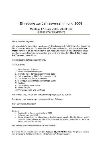Einladung zur Jahresversammlung 2008