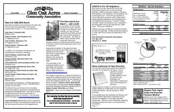 Not receiving the Glen Oak Acres monthly electronic newsletters?