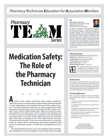 the role of institutional pharmacy technicians Learn about pharmacy practice including the role of the pharmacy  pharmacists and pharmacy technicians have an important role in  institutional pharmacy.