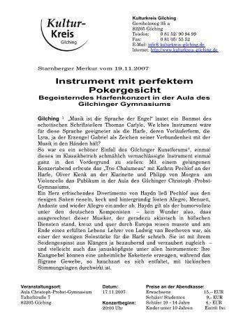 Instrument mit perfektem Pokergesicht - Kulturkreis Gilching