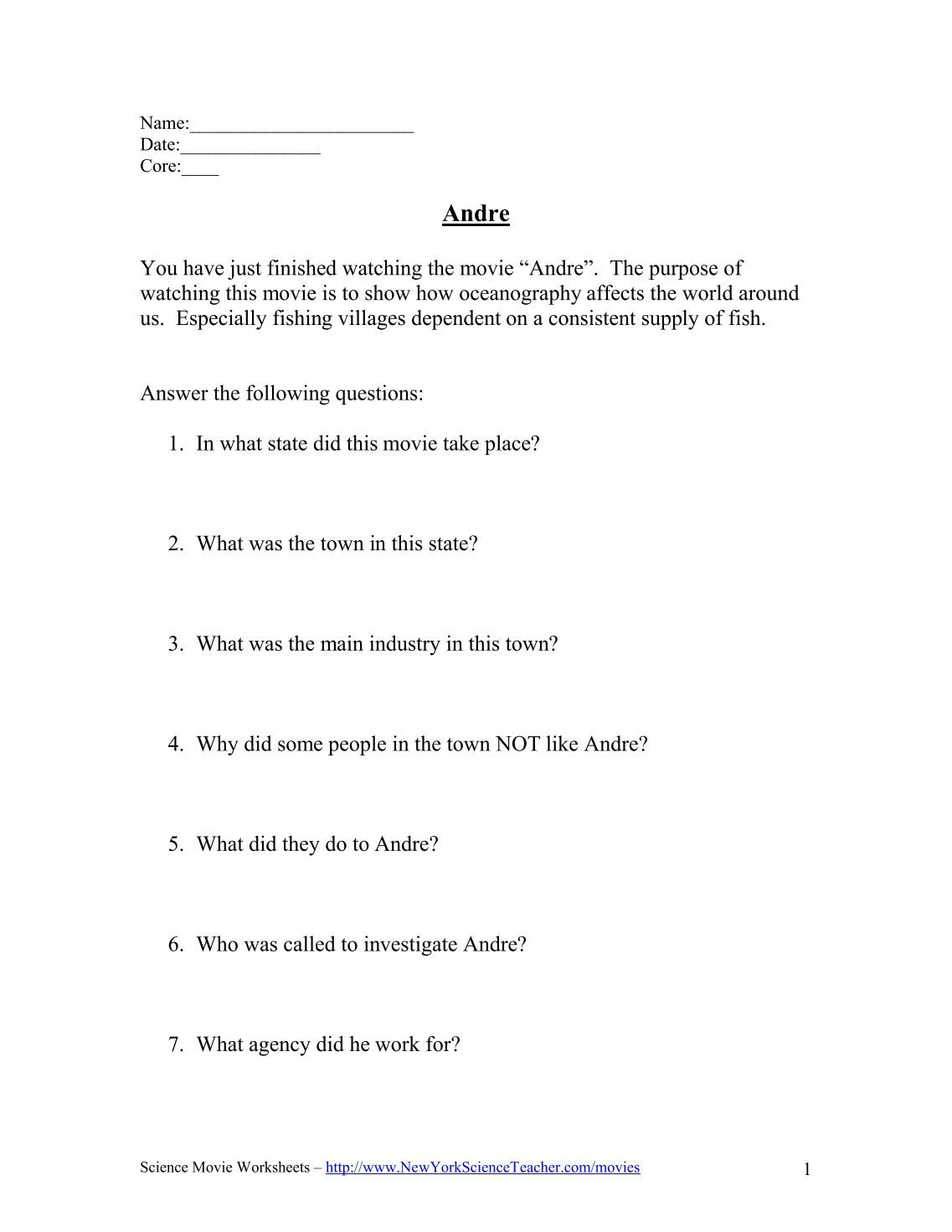 New York Science Teacher Movie Worksheets.pictures bill nye the ...