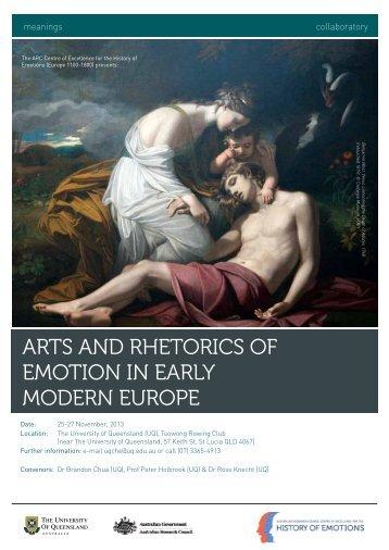 Arts And rhetorics of emotion in eArly modern europe