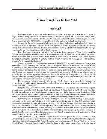 Marea Evanghelie a lui Ioan Vol.1
