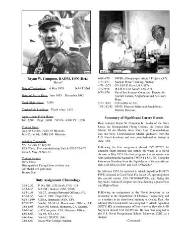 Bryan W. Compton, RADM, USN (Ret.) Duty Assignment Chronology ...