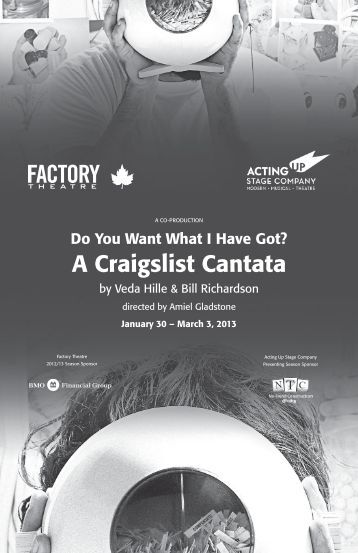 Do You Want What I Have Got? A Craigslist Cantata - Factory Theatre