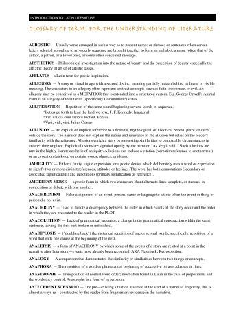 scope glossary of literary terms