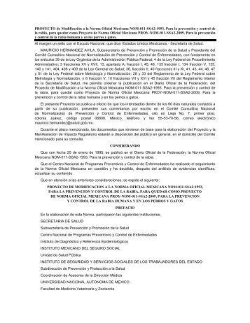 PROYECTO de Modificación a la Norma Oficial Mexicana NOM-011 ...