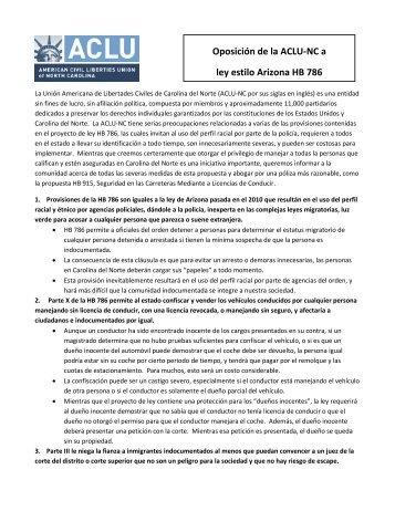 Oposición de la ACLU-NC a ley estilo Arizona HB 786