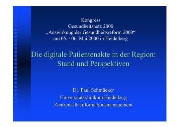 Die digitale Patientenakte in der Region: Stand und Perspektiven ...