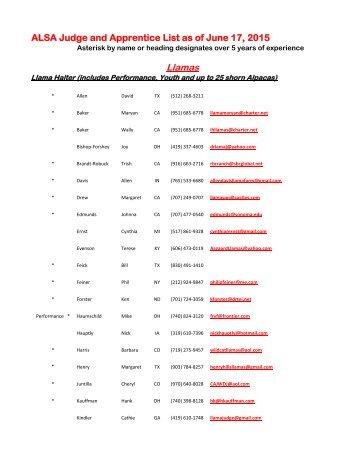 List of ALSA Judges - Alpaca Llama Show Association