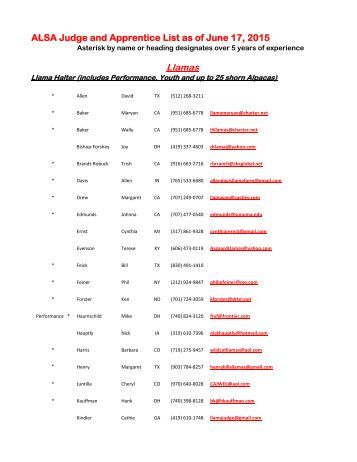 List of ALSA Judges - Alpaca Llama Show Association
