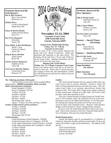 Exhibitor Packet Combined_2004.tad.wpd - Alpaca Llama Show ...