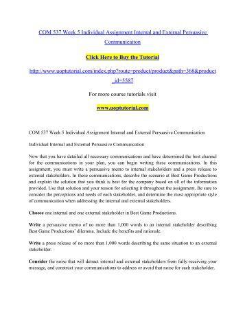 com 537 week 5 internal and For more classes visit wwwcom537tutorscom com 537 week 1 individual assignment integrated diffusion paper com 537 week 1 dq 1 com 537 week 1 dq 2 com 537 week 2.