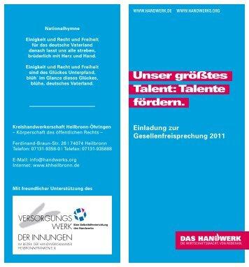 Einladung zur Gesellenfreisprechung 2011 - Kreishandwerkerschaft ...