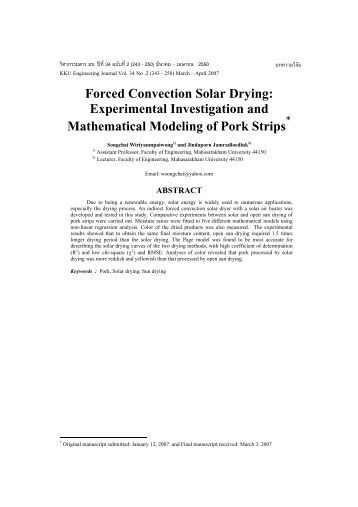 Forced Convection Solar Drying: Experimental Investigation and ...