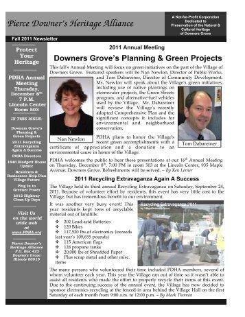 2011 Fall Newsletter - Pierce Downer's Heritage Alliance