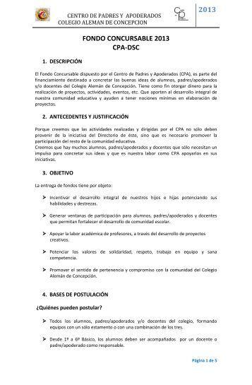 fondos concursables cpa-dsc 2013 - Colegio Alemán de Concepción