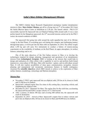 India's Mars Orbiter (Mangalyaan) Mission - Employment News
