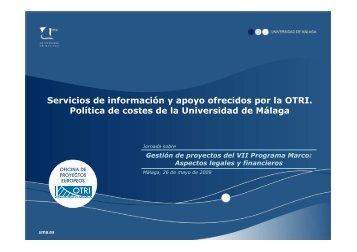 Servicios de información y apoyo ofrecidos por la OTRI ... - Euroblog