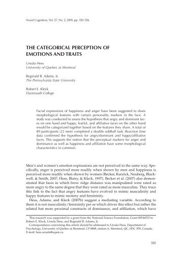 the categorical perception of emotions and traits - Ursulakhess.de