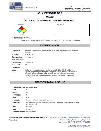 hoja de seguridad sulfato de magnesio heptahidratado